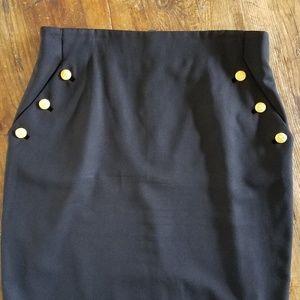 Vtg Escada Black Pencil Skirt w Pockets Size 42